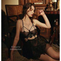 Váy Ngủ Hở Hang Quyến Rũ Đen - D546