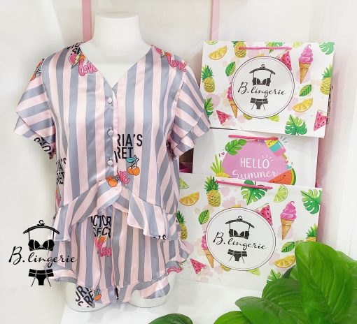 Đồ Bộ Pijama Nữ Ngắn Kẻ Sọc - BO755