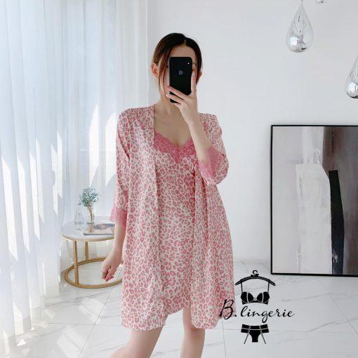Váy Ngủ Kèm Áo Khoác Da Beo