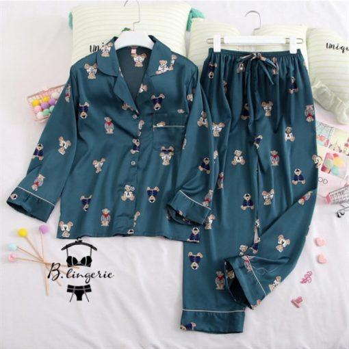 Đồ Bộ Pijama Chú Gấu Xinh Xắn Xanh - BO405