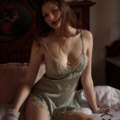 Đầm Ngủ Ren Hoa Xanh