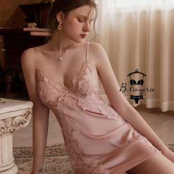 Đầm Ngủ Lụa Satin Cup Ngực Chữ V