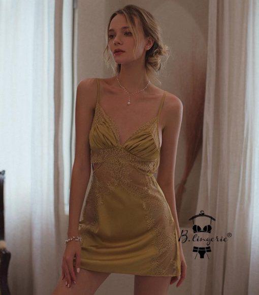 Váy Ngủ Satin Phối Ren Gợi Cảm