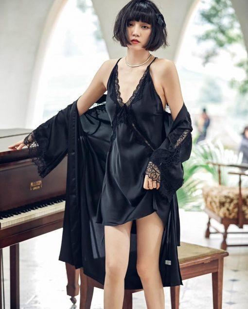 Đầm Ngủ Phi Bóng Kèm Áo Choàng Blingerie
