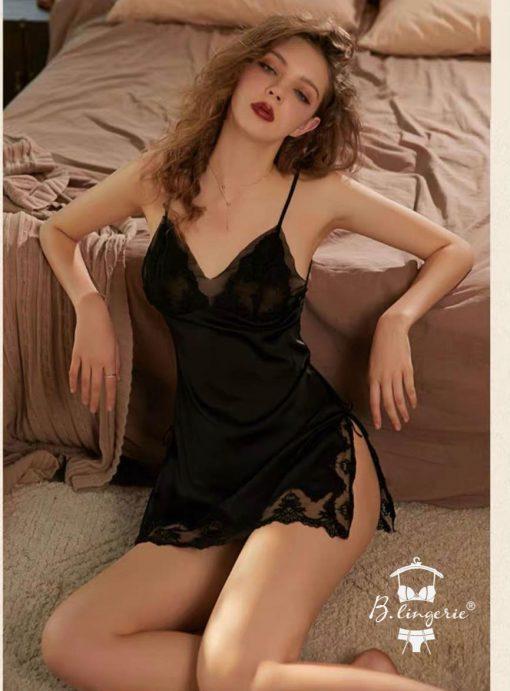 Đầm Ngủ 2 Dây Phi Lụa