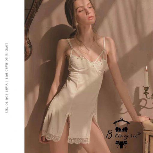 Váy Ngủ Phi Lụa Trắng Blingerie