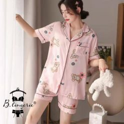 Pijama Nữ Ngắn Gấu Hồng