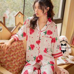 Bộ Đồ Ngủ Pyjama Trái Dâu Tây - Blingerie