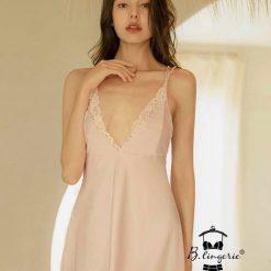 Đầm Ngủ Satin Cổ Chữ V - Blingerie